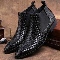 Тканые Дизайн Черные ботильоны мужские свадебные ботинки натуральная кожа мужские осенние ботинки мужские мотоциклетные ботинки Уличная