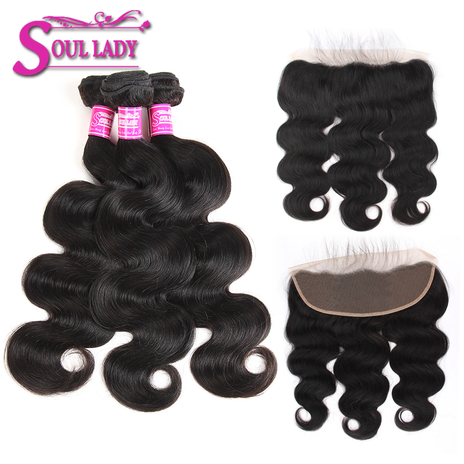 13x4 Ear To Ear Lace Frontal Closure With Bundles Non Remy Brazilian Body Wave 3 Bundles With Frontal 100% Human Hair Closure