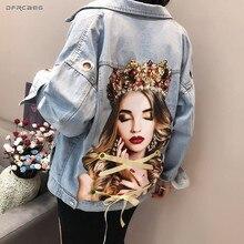 肖像画プリント女性のジーンズジャケットアイレット 2019 ファッション夏のストリートデニムビーズコートルースヴィンテージ生き抜く
