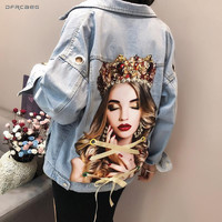 Portrait Print Women Jeans Jacket With Eyelet 2019 Fashion Summer Streetwear Denim Beading Coat Loose Vintage Outwear