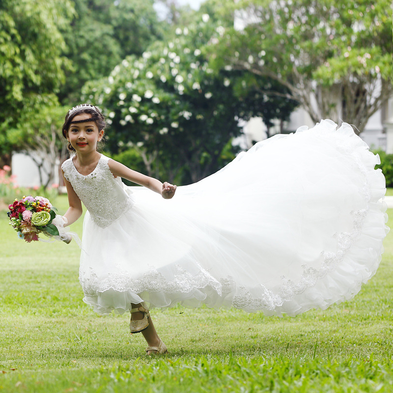 Long Tailed White Flower Girls Dress Layers White Girl Vestido for Party 2018 Girl Clothes 3 4 6 8 10 12 14 Years Old RKF174026