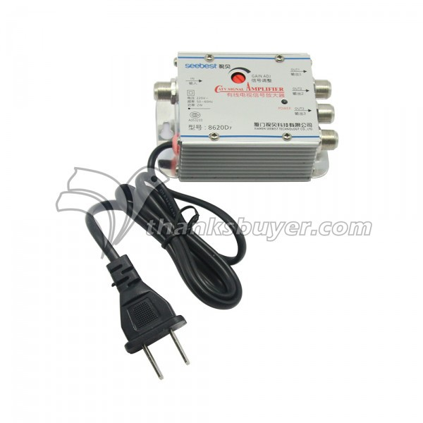 Seebest 8620D7 1 en 3 Out 20dB de Gain Réglable CATV Amplificateur de Signal TV Signal Booster