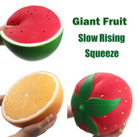 Jumbo Super Giant Soft Watermelon Orange Strawberry Peach Slow Rising Squeeze Decompression toy fruit squishy