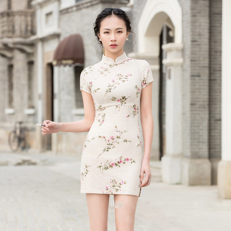 2019 Short Sleeve Cheongsam Qipao Elegant Cotton And Linen Women Traditional Chinese Dress Ladies Modern Chinese Clothing DN3010