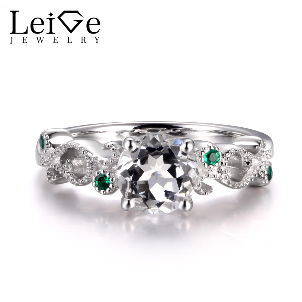LeiGe Jewelry Natural White Topaz Rings Cocktail Party Rings Round Shape Rings November Birthstone 925 Sterling Silver for Her