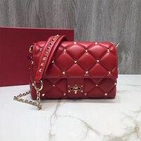 YIQIN BERYL сумка на плечо из натуральной кожи модная мини сумка с заклепками и застежкой через плечо женская сумка из овчины