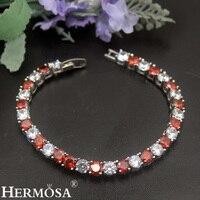 2 Colors Superb Christmas Gift 925 Sterling Silver Bracelet 17cm 32Pcs Garnet Onyx Bracelets Xmas Party Girls Friendship Jewelry