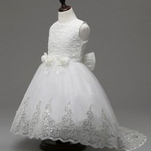 Princess White Girl Dresses with Train Tulle Children Tutu Dress for Girls Party Summer Baby Girl