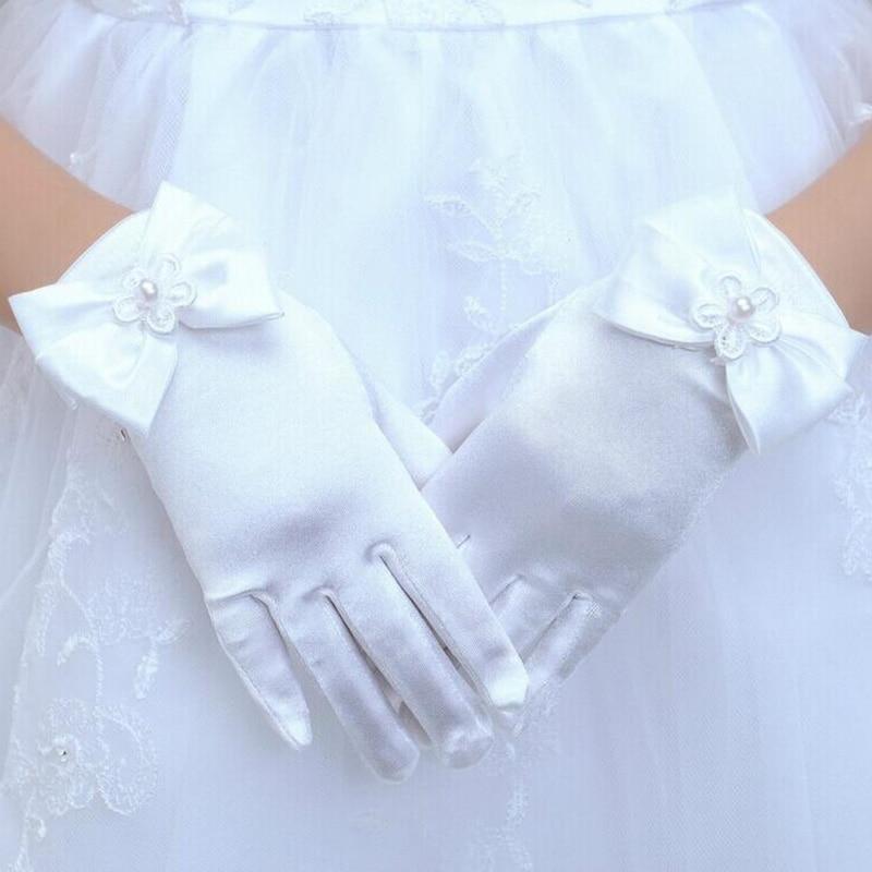Lovely Elastic Girl Etiquette Performance Gloves Satin Pearl Flower Lace Bow Gloves Short Children Princess Dance Glove L44