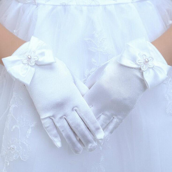 Lovely Elastic Girl Etiquette Performance Gloves Satin Pearl Flower Lace Bow Gloves Short Children Princess Dance Glove L44