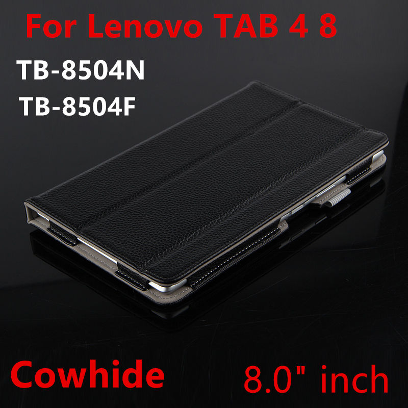 Case Cowhide For Lenovo Tab 4 8 Protective Smart Cover Genuine Leather Tab4 8 8.0 TB-8504F 8504N Tablet Cases Protector Sleeve magnetic stand smart pu leather cover for lenovo tab 4 8 tb 8504f 8504n 8 0 tablet funda case free screen protector stylus pen