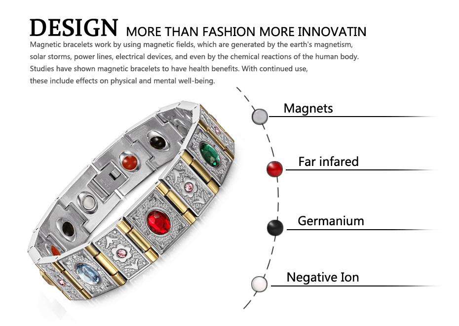 Магнитный браслет из нержавеющей стали для мужчин и женщин