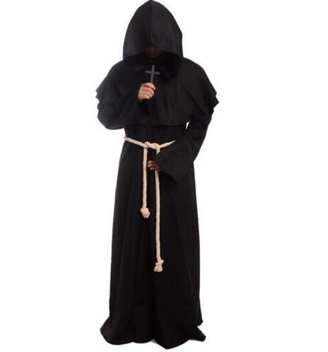 New 2017 Medieval Cosplay Costume Renaissance Monk Priest Clothing Cloak Cape Robe Women Men Halloween Medieval Dress Costume