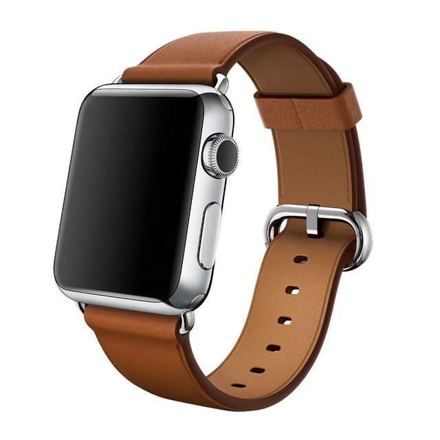 V-MORO Leather Premium Soft Genuine Watch Band Leather Replacement Strap With Classic Buckle for Apple Watch All Models