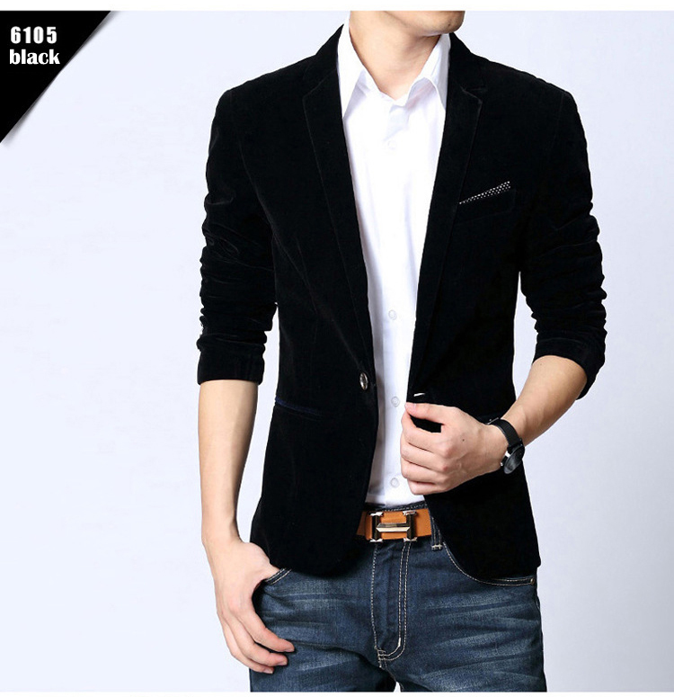 Slim Fit Suit Jacket Black Navy Blue Velvet Blazer Minesouq
