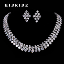 HIBRIDE Round Rhinestone CZ Stone Women Jewelry Set White Gold Color Female Wedding Earring Necklace Sets N-186