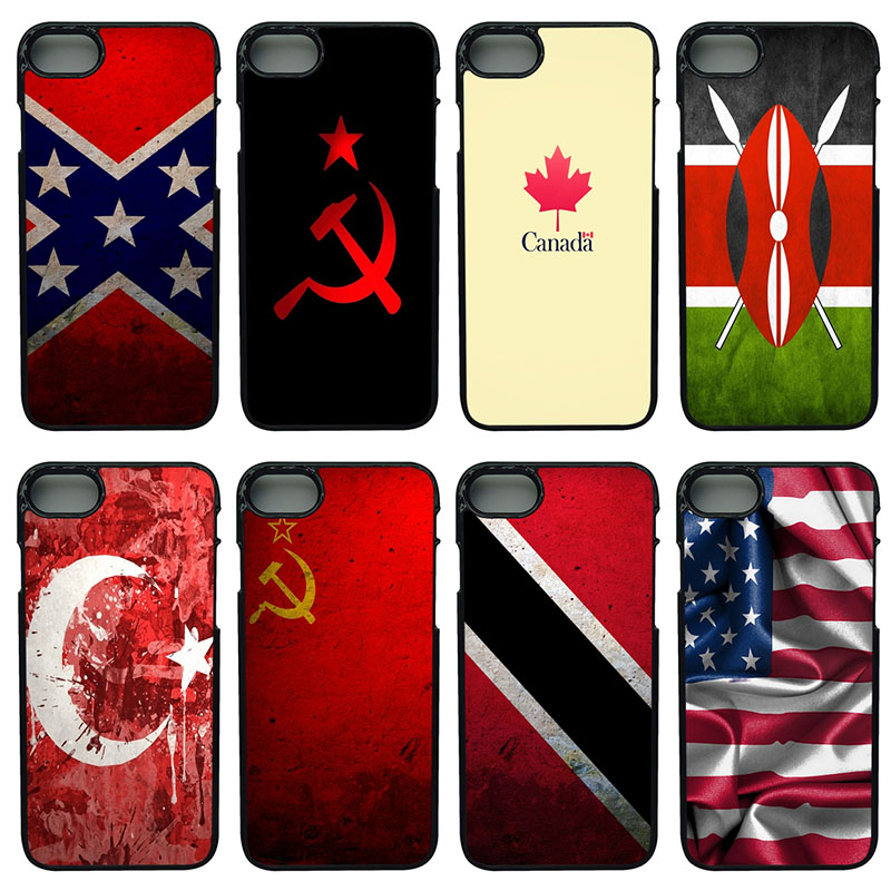 Flag Cell Phone Case PC Hard Plastic Cover Protect for iphone 8 7 6 6S PLUS X 5S 5C 5 SE iPod Touch 4 5 6 Anti-knock Black Cases