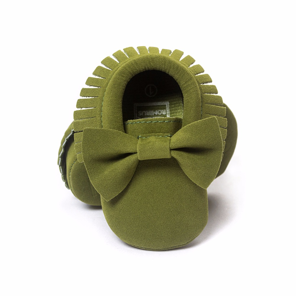 Hooyi Bow Suede Baby Boy Shoe Grass Green PU Leather Fashion Kid Moccasins Solid Bebe First Walker Newborn Prewalker Kids Sock
