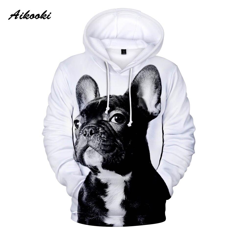 Aikooki Französisch Bulldog Hoodies Männer/frauen Mode Frühjahr/herbst Hoodie 3d Drucken Nette Hund Weiß Design Teenager Sweatshirts Hoody 100% Hochwertige Materialien