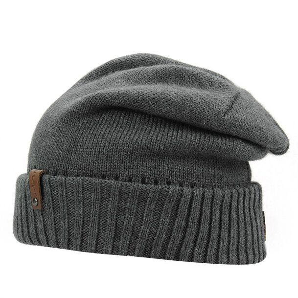 Men's Skullies Winter Wool Knitted Hat Outdoor Warm Casual Solid Caps For Men Caps Hats skullies