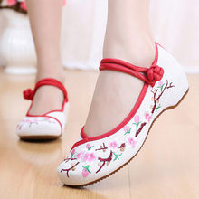 Beijing shoes authentic ethnic style / women spell color strap embroidered shoes increased slope shoes inside women's shoes a101