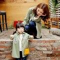 2016 Новый Мать и Дочь Семьи Clothing 3 Цвета Осень Пальто Письма Печатаются Семья Соответствия Верхняя Одежда Одежда