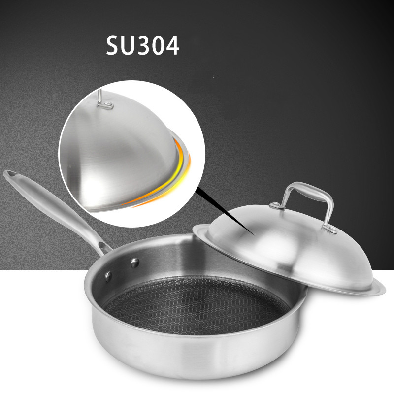 Nonstick Frying Pan Skillet Stainless Stell 5 Ply Dutch Oven SS 18 10 Frypan Cooking Utensil