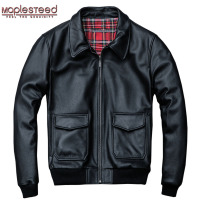 MAPLESTEED Air Force Flight Jacket Men 100% Thick Cow Skin Jacket Man Pilot Leather Suit Bomber Jackets Men's Winter Coat M055