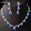 Clear Rhinestone Rhodium Plated Costume Women Jewelry Promotion Fashion Blue Stone Bridal Wedding Necklace Earrings Jewelry Sets