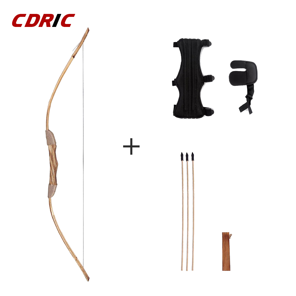 Good-quality  Powerful Wooden Wood Bow With 3 Arrows And Quiver Kids Toy Wood Archery Bow DIY Set Kids Gift