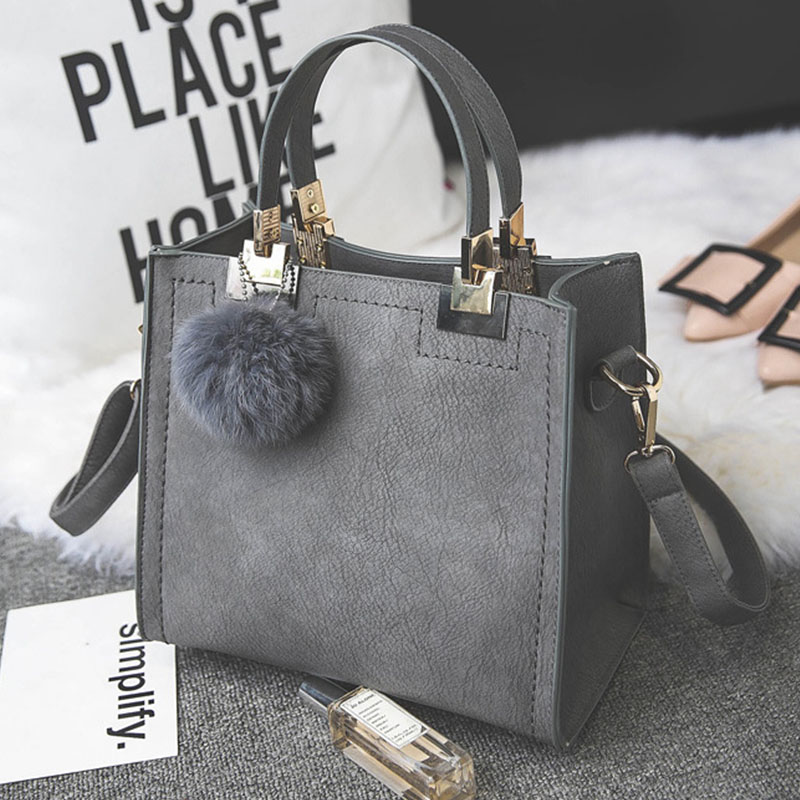 MVK Women Handbag Hairball Shoulder Messenger Bag luxury Handbags Women Luxury Designer High-grade Scrub Leather Bag Women Bags