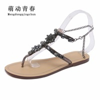 2018 Woman Sandals Women Shoes Rhinestones Chains Thong Gladiator Crystal Flat Heels Sandals Five Color Plus Size 46 3