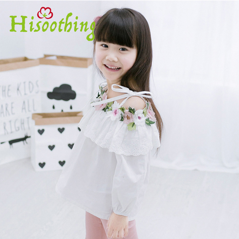 New Female child strap lace flower embroidery long-sleeved doll shirt White cotton baby Princess strap dress Fashion round neck charter club 2738 new womens white cotton henley top shirt petites ps bhfo