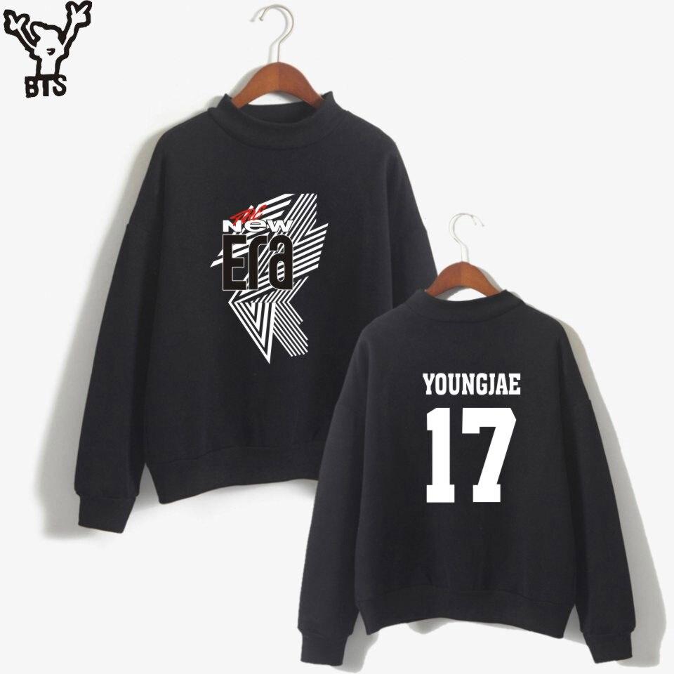 BTS GOT7 Kpop Fashion Anime Print YOUNGJAE 17 Women/Men THE NEW ERA Cool Turtleneck Sweatshirt Fashion Autumn Mark 04 4XL A8080