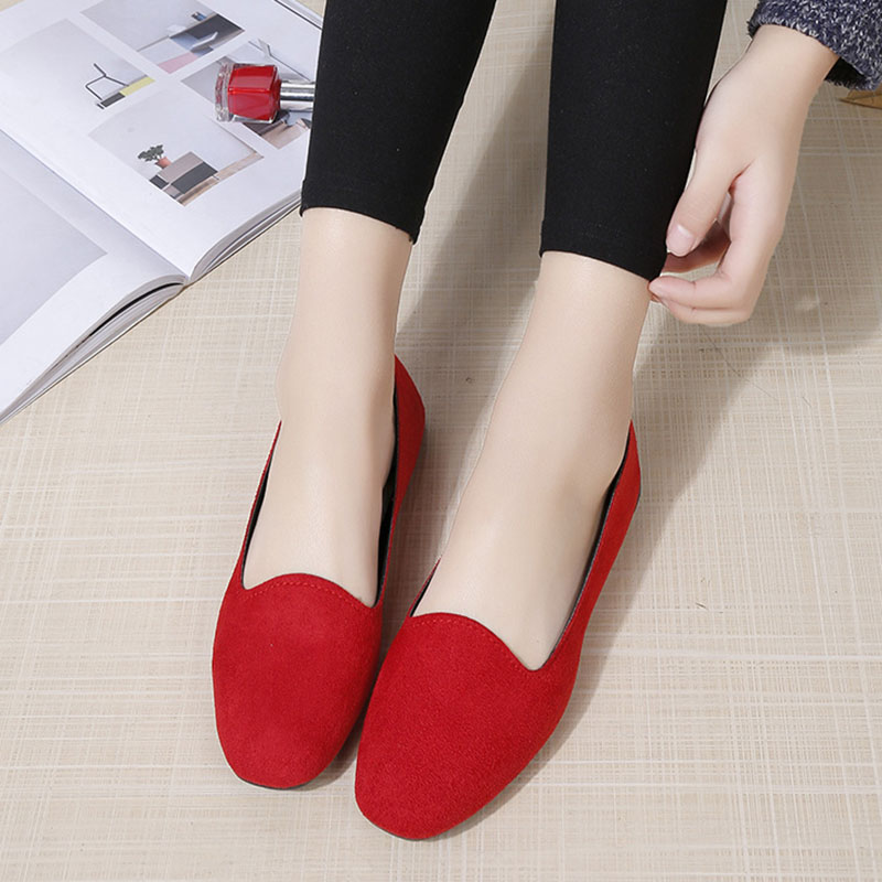 Women Flats   Suede     Leather   Ballet Flats Handmade Slip-on Loafers Women Moccasins Plus Size 35-42 Female Zapatos Mujer Casual