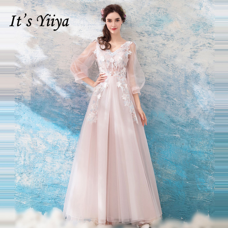 f728cddf58c It s Yiiya evening dress Long Sleeve V-Neck Embroidery Flower Formal Dress  for Party Evening