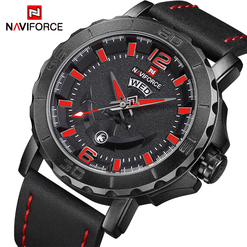 NEW Top Luxury Band NAVIFORCE Mens Watches Sport Quartz Watch Men Leather Strap Clock Male Military Wristwatch Relogio Masculino