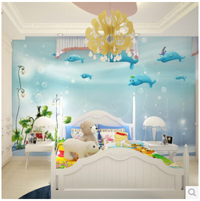 Aliexpresscom Buy Mural Childrens Room Blue Ocean Boys And - Blue wallpaper for girls bedroom