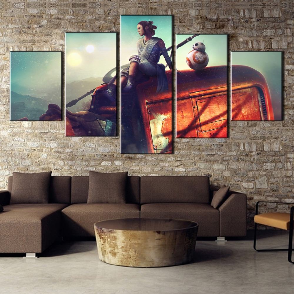 HD Printed Painting 5 Pieces Rey Star Wars Canvas Wall Art Picture Home Decoration Living Room Canvas Painting Wall Art Decor