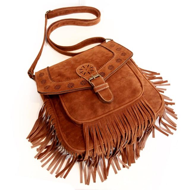 Women's tassel bags Faux suede leather messenger bags Vintage fringe bags for women crossbody bags bolso flecos