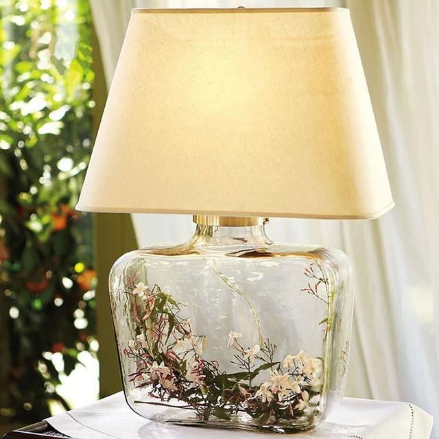 Desk Lamp Gl Vase Light Table Led Lamps For Bedroom Clear Lampara