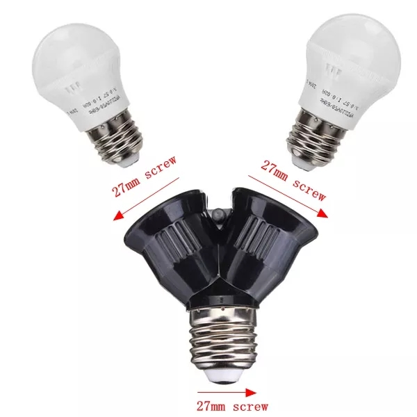 E27 1-2 E27 светодиодный адаптер лампы конвертер разветвитель база Socketr черный адаптер