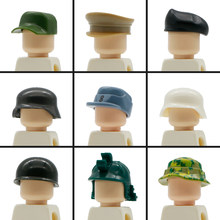 Military Building Blocks German WW2 SWAT UK Soldiers Figure Accessory Army Beret MOC Knight Helmet Cap Hat Legoed Military Toys(China)