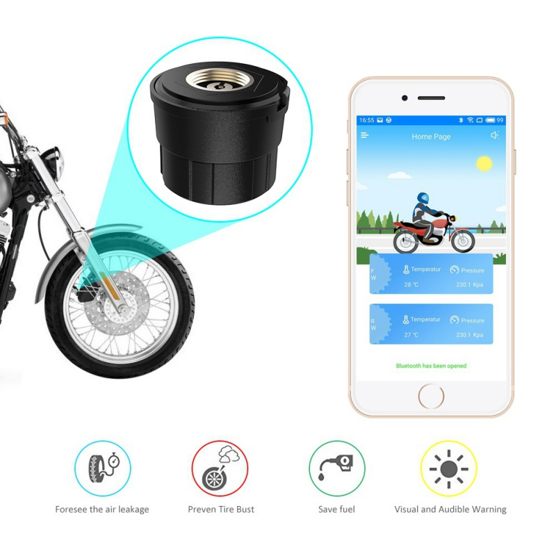 Tpms Motorcycle Tire Pressure Monitor Bluetooth Monitoring System TPMS Mobile Phone APP Detection External Sensor Auto