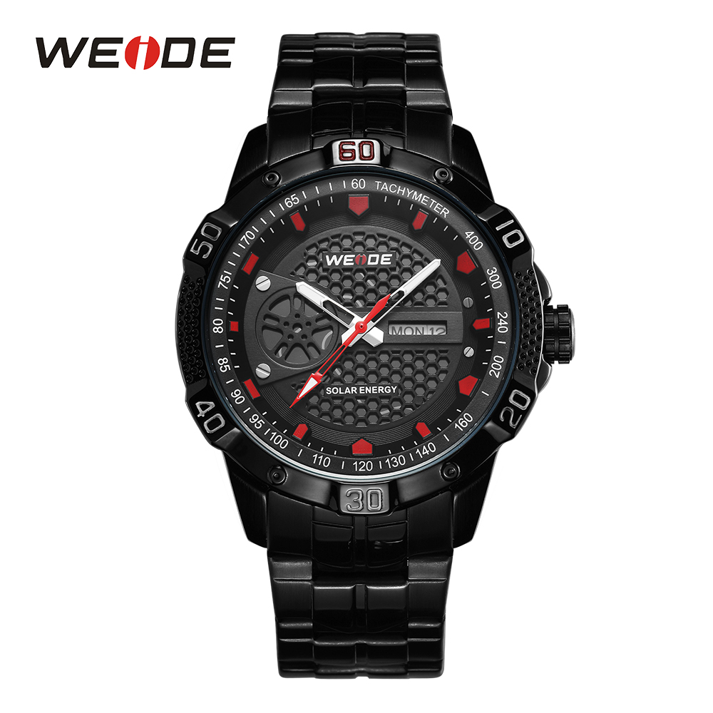 WEIDE Men Sport Watch Solar Watch Quartz Clock Analog Digital Date Calendar Black Stainless Steel Band Red Wristwatch Relojes цена