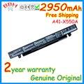 Nueva original batería para asus a41-x550 a41-x550a y481c x450v x450c y581c x550 a450c x550v x550c a550 15 v 2950 mah 44wh baterías