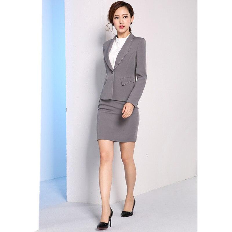Gray font b Women b font Skirt font b Suits b font Slim Fit Ladies font