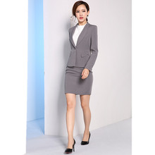 Gray Women Skirt Suits Slim Fit Ladies Formal Work Wear Skirt Suits 2 Piece Sets Business Female Office Uniform Solid Women Suit