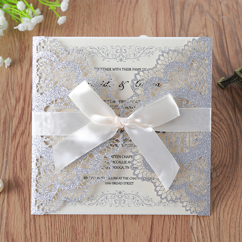 50pcs lot Slivery Glitter Laser Cut Lace Wedding Invitations Cards with Hollow Flora Drill for Engagement