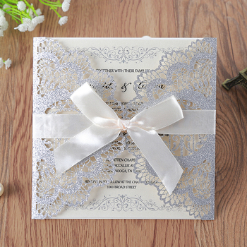 50pcs/lot Slivery Glitter Laser Cut Lace Wedding Invitations Cards with Hollow Flora Drill for Engagement Wedding Bridal Shower